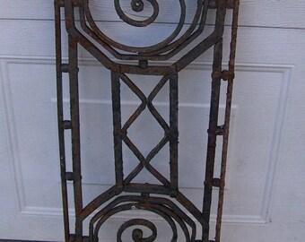 antique salvage art deco iron window,reclaimed sash transom window panel,gorgeous wall art,chippy black,mediterranean transom window panel