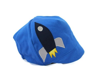 Boy Rocket Hat, Reversible, Rocketman Cap, Boys Space Organic Cotton Wee Dee Reversible Hat, Baby, Toddler or Kid Hat, XXS S M