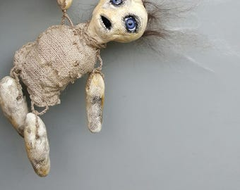 Creepy art doll, oddity or curio, little goth reject doll, scary creature handmade, geeky horror monster doll, unique, one of a kind spooky