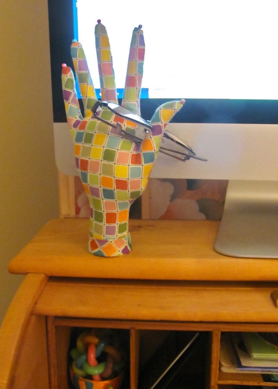 SALE - Colorful Tiles Fabric HAND-Stand Glasses Earrings Display Ready to Ship