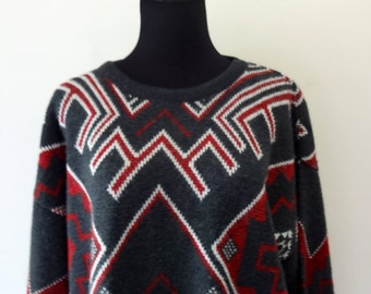 Vintage Jantzen Patterned Acrylic Sweater 1980s