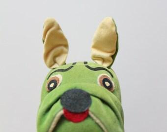 Vintage Dream Pets Green Bulldog Stuffed Animal 1960s