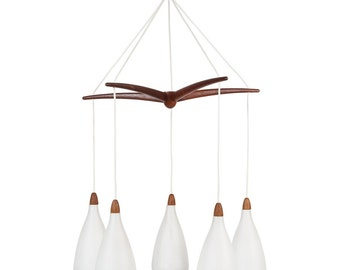 SALE: Swedish Teak and Glass Chandelier Ceiling Lamp