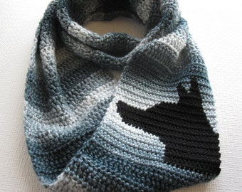 German Shepherd Infinity Scarf.  Chunky crochet scarf with black shepherd dog.