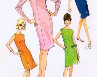 Chic Uncut Vintage 1960s McCall's 8263 Princess Seamed Slim Chemise Dress in 6 Versions Sewing Pattern B32