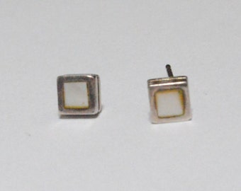 SALE Vintage Sterling Silver Mother of Pearl Shell Square Post Style Stud Earrings