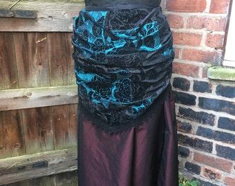 "Patchwork teal and black flock taffeta bustle skirt (36"" waist)"