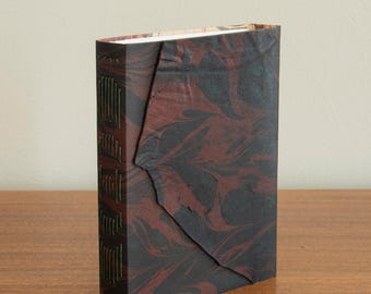 Unique Marbled Leather Journal / Notebook / Sketchbook - Red and Black Long Stitch Binding