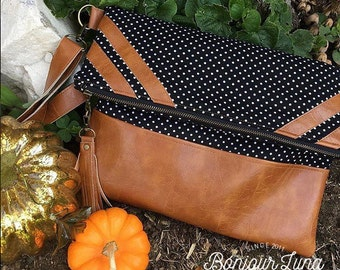 Black and White Foldover Bag - Faux Leather Detailing - Tote Bag - Cognac - Boho Chic - Rustic Bag - Fabric Handbag - Zipper Bag - Fold Over