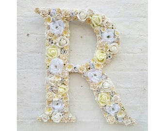 Flower Letter Floral Letter Cream White Flowers Personalised Wall Hanging Wedding Decor Letter Initial Nursery Decor