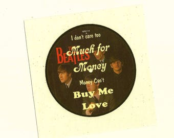 "CLEARANCE 5x5 Beatles Fabric Patch ""Can't Buy Me Love"" Beatles 45 rpm on Soft, Dry Clean Only Cotton Cream Fabric Block, Beatlemania Fabric"