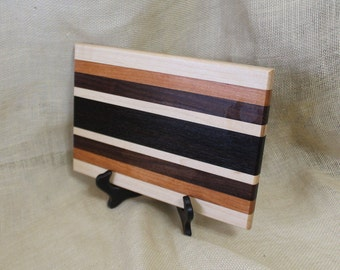 Cheese / Sushi Board Striped with Hardwoods Walnut, Cherry,  Maple and Wenge