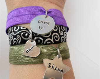 charm bracelet, stretchy elastic bracelet, stretchy wristband, personalised stretch fabric cuff, festival jewellery, gift for her him