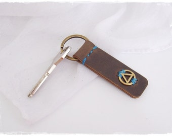 Recovery Key-Fob, Sobriety Keychain, AA Keyring, Alcoholics Anonymous Leather Key-Ring, Serenity KeyChain, 12 Steps Leather Keychain
