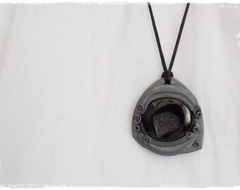 Druzy Onyx Pendant, Gothic Pendant Necklace, Drow Elf Pendant, Victorian Sci-fi Stone Necklace, Polymer Clay Pendant, Lolita Goth Necklace