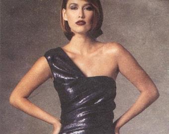 Donna Karan one-shouldered cocktail dress pattern -- Vogue American Designer 1427