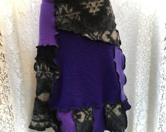 Sweater Skirt, Upcycled Wool Skirt, Repurposed Clothing, LG-XL, Purples Black Grey Patchwork, #SK384