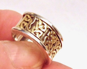 Sale! 18K Sterling Silver Celtic Knot Band, 7 Grams, Pinky Ring, Vintage, Clearance