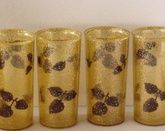 Four Vintage 10 oz Drink Glasses 1950's Lucite Early Plastic Gold Leaf Confetti  Insulated Double Wall