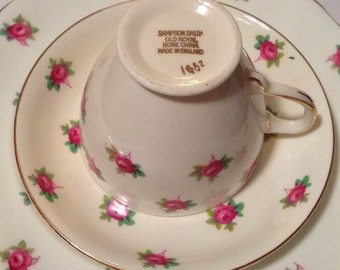 Sampson Smith Old Royal Bone China Made In England Teacup and Saucer Set