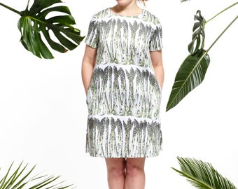 Handmade asparagus shift dress, vegetable print dress
