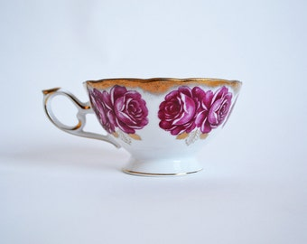 Vintage Castle China Teacup with Pink Roses and Gold - Orphan Tea Cup ONLY