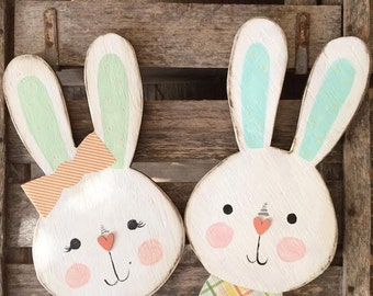 Lilly and Finn Bunny couple Wood Easter Sign