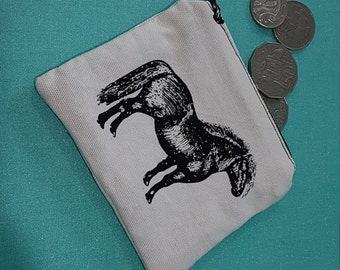 Horse coin purse, horses, fully lined with zipper, coin pouch, zipper pouch, card purse, black and white, coin purse, small