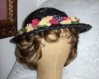 Vintage 1950s Ladies Black Woven Straw Hat w/ Floral Trim Only 12 USD