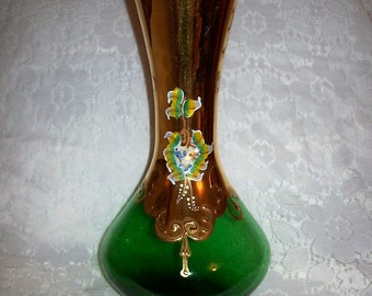 Antique Hand Painted Emerald Green Czech Bohemian Moser Art Glass Vase Just 50 USD