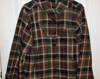 Vintage 1960s Ladies Brown Plaid Wool Jacket w/ Hood Large Only 25 USD