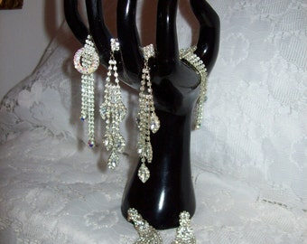 Vintage Pierced Rhinestone Dangle Earrings All 3 Pairs for 14 USD