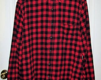Vintage Men's Red Plaid Flannel Shirt by Faded Glory Large Only 9 USD
