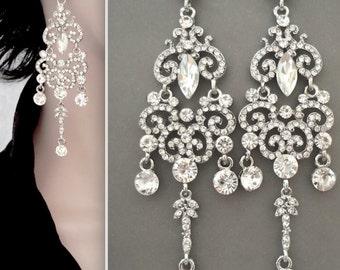 """Long chandelier earrings - Crystal earrings - 4 1/2"""" long - Brides earrings - Wedding earrings - Statement earrings ~ Pageant, Prom earrings"""