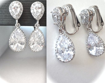Silver clip on Earrings, Brides clip on earrings, Cubic zirconias, Clip on earrings for a bride, Clip on wedding earrings, Clip on earrings