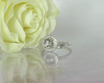 April Birthstone Ring, April Birthstone, Halo Ring, Herkimer Diamond Ring, Engagement Ring, Halo Engagement Ring, Halo Sterling Ring,