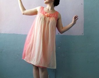 Vtg 60s Babydoll Pink And Peach Slip Dress