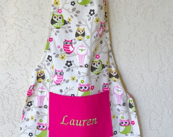 Girls apron personalized includes name owl print.