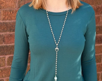 Pearl Lariat with Multi-color Tassel and Turquoise Details