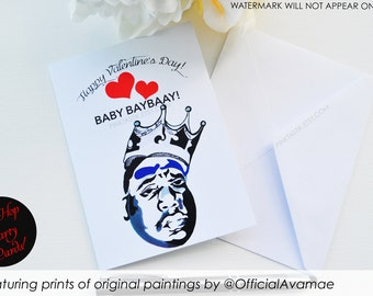 Hip Hop Greeting Cards, Hip Hop Valentine Card, Biggie Valentine Card, Biggie party, 90's hip hop party, 90's invitations, Biggie Stationary