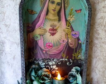 """Language of the Heart. Sacred Heart shrine assemblage wall hanging, altered wood box, 17 1/2"""" tall"""