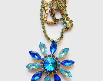 Vintage Blue Rhinestone Necklace, Rhinestone Jewelry, Vintage Pendant Necklace,Light and Dark Rhinestones,1970s Jewelry, Rhinestone Pendant