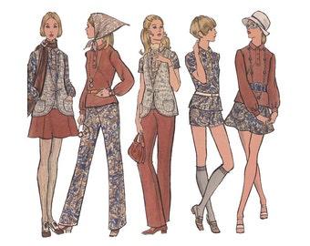 Vogue 7811 Flared Mini Skirt, Vest, Blouse, Pants or Short Shorts Size 10 Bust 32.5 Uncut Vintage 1970s Sewing Pattern