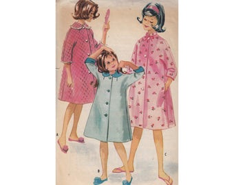 Girls Vintage ©1960 Brunchcoat Robe or Housecoat McCalls Sewing Pattern 5654 Size 10 Breast 28 Three Quarter Sleeve Collar Options