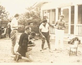 "Vintage Photo ""Getting The Baby To Smile"" Accordion Camera Ukulele Found Photo Wissinoming Philadelphia Letter Sweater Old Car"