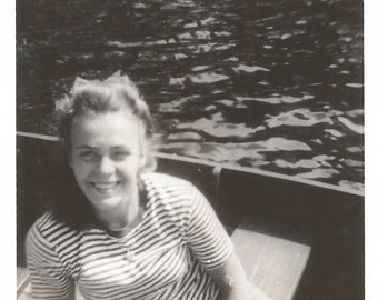 """Vintage Snapshot """"A Day At The Lake"""" Pretty Girl Striped Top Curly Blonde Hair Rowboat Found Photo"""