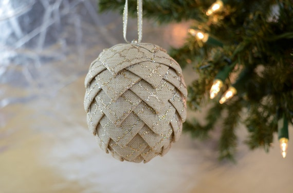 Linen Pine Cone Ornament Christmas ornament with silver and gold glitter pattern Gift exchange idea for secret santas Unique holiday decor
