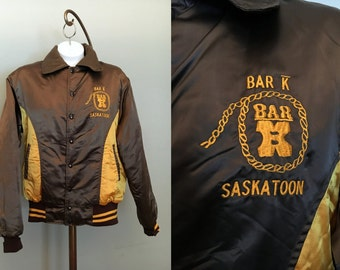 vintage Brown and Gold Starter jacket Satiny Embroidered Insignia Bar K Saskatoon warm up windbreaker 1960s