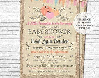 Pumpkin Baby Shower Invitation - Fall Baby Shower Invitation - A Little Pumpkin is on the Way - Download & Personalize in Adobe Reader
