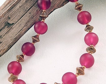 Dark Red Sea Glass Bead Necklace - Gold Beads - Burgundy - Gifts under 30